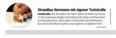 Teststraße bei Strandbar Herrmann